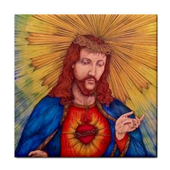 Sacred Heart Of Jesus Christ Drawing Face Towel by KentChua