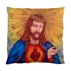 Sacred Heart Of Jesus Christ Drawing Standard Cushion Case (one Side)  by KentChua