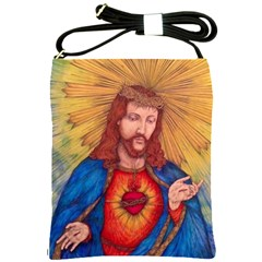 Sacred Heart Of Jesus Christ Drawing Shoulder Sling Bags by KentChua