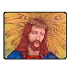 Sacred Heart Of Jesus Christ Drawing Fleece Blanket (small) by KentChua