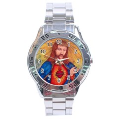 Sacred Heart Of Jesus Christ Drawing Stainless Steel Men s Watch by KentChua