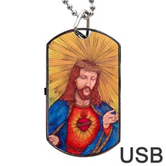 Sacred Heart Of Jesus Christ Drawing Dog Tag Usb Flash (one Side) by KentChua