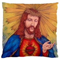 Sacred Heart Of Jesus Christ Drawing Large Cushion Cases (one Side)  by KentChua
