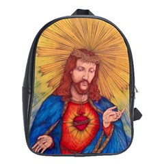 Sacred Heart Of Jesus Christ Drawing School Bags (xl)  by KentChua