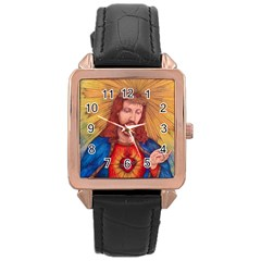 Sacred Heart Of Jesus Christ Drawing Rose Gold Watches by KentChua