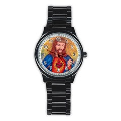 Sacred Heart Of Jesus Christ Drawing Stainless Steel Round Watches by KentChua