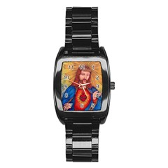 Sacred Heart Of Jesus Christ Drawing Stainless Steel Barrel Watch by KentChua