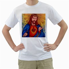 Sacred Heart Of Jesus Christ Drawing Men s T Shirt (white)  by KentChua