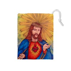 Sacred Heart Of Jesus Christ Drawing Drawstring Pouches (medium)  by KentChua
