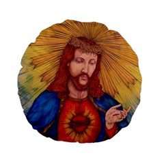 Sacred Heart Of Jesus Christ Drawing Standard 15  Premium Flano Round Cushions by KentChua