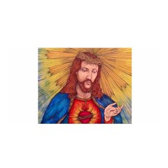 Sacred Heart Of Jesus Christ Drawing Satin Wrap by KentChua