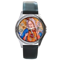 Immaculate Heart Of Virgin Mary Drawing Round Metal Watches by KentChua