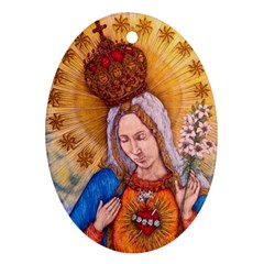 Immaculate Heart Of Virgin Mary Drawing Ornament (oval)  by KentChua