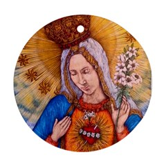 Immaculate Heart Of Virgin Mary Drawing Round Ornament (two Sides)  by KentChua