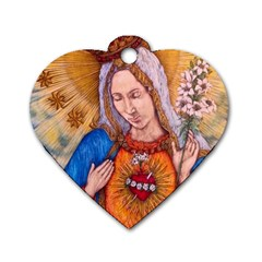 Immaculate Heart Of Virgin Mary Drawing Dog Tag Heart (two Sides) by KentChua