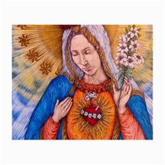 Immaculate Heart Of Virgin Mary Drawing Small Glasses Cloth (2 Side) by KentChua