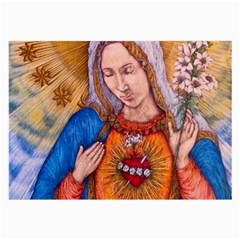 Immaculate Heart Of Virgin Mary Drawing Large Glasses Cloth by KentChua