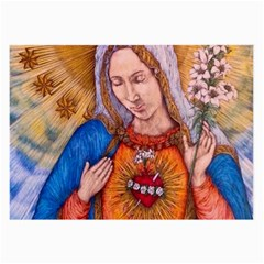 Immaculate Heart Of Virgin Mary Drawing Large Glasses Cloth (2 Side) by KentChua