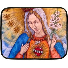 Immaculate Heart Of Virgin Mary Drawing Double Sided Fleece Blanket (mini)  by KentChua