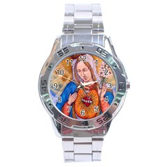 Immaculate Heart Of Virgin Mary Drawing Stainless Steel Men s Watch by KentChua