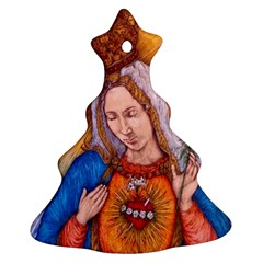 Immaculate Heart Of Virgin Mary Drawing Ornament (christmas Tree) by KentChua
