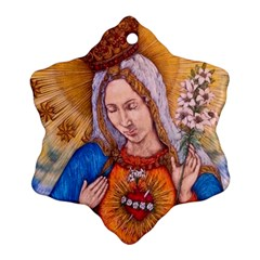 Immaculate Heart Of Virgin Mary Drawing Snowflake Ornament (2 Side) by KentChua