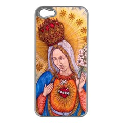 Immaculate Heart Of Virgin Mary Drawing Apple Iphone 5 Case (silver) by KentChua