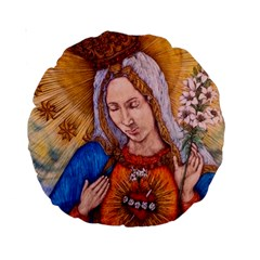 Immaculate Heart Of Virgin Mary Drawing Standard 15  Premium Round Cushions by KentChua