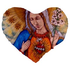 Immaculate Heart Of Virgin Mary Drawing Large 19  Premium Heart Shape Cushions by KentChua