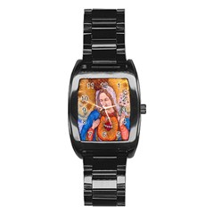 Immaculate Heart Of Virgin Mary Drawing Stainless Steel Barrel Watch by KentChua