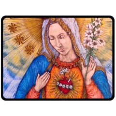 Immaculate Heart Of Virgin Mary Drawing Double Sided Fleece Blanket (large)  by KentChua