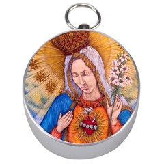 Immaculate Heart Of Virgin Mary Drawing Silver Compasses by KentChua
