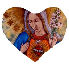 Immaculate Heart Of Virgin Mary Drawing Large 19  Premium Flano Heart Shape Cushions by KentChua