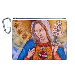 Immaculate Heart Of Virgin Mary Drawing Canvas Cosmetic Bag (l) by KentChua