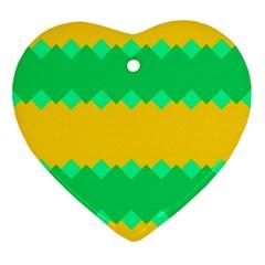Green Rhombus Chains ornament (heart) by LalyLauraFLM