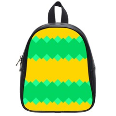 Green Rhombus Chains 			school Bag (small) by LalyLauraFLM