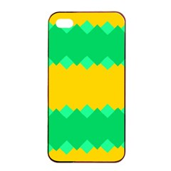 Green Rhombus Chains 			apple Iphone 4/4s Seamless Case (black) by LalyLauraFLM