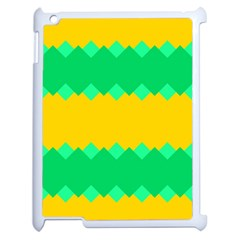 Green Rhombus Chains 			apple Ipad 2 Case (white) by LalyLauraFLM