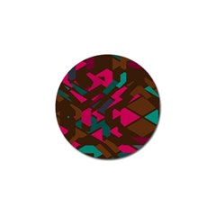 Brown Pink Blue Shapes 			golf Ball Marker by LalyLauraFLM