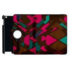 Brown Pink Blue Shapes apple Ipad 2 Flip 360 Case by LalyLauraFLM