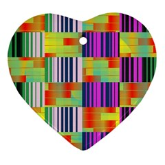 Vertical And Horizontal Stripes 			ornament (heart) by LalyLauraFLM