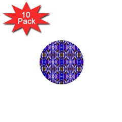 Blue White Abstract Flower Pattern 1  Mini Buttons (10 Pack)  by Costasonlineshop