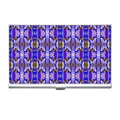 Blue White Abstract Flower Pattern Business Card Holders by Costasonlineshop