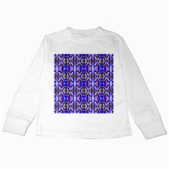 Blue White Abstract Flower Pattern Kids Long Sleeve T-Shirts by Costasonlineshop