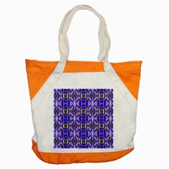 Blue White Abstract Flower Pattern Accent Tote Bag  by Costasonlineshop