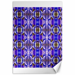 Blue White Abstract Flower Pattern Canvas 12  X 18   by Costasonlineshop