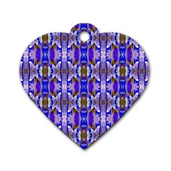 Blue White Abstract Flower Pattern Dog Tag Heart (one Side) by Costasonlineshop
