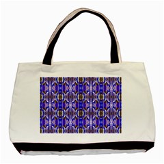 Blue White Abstract Flower Pattern Basic Tote Bag (two Sides)  by Costasonlineshop