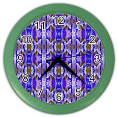 Blue White Abstract Flower Pattern Color Wall Clocks by Costasonlineshop