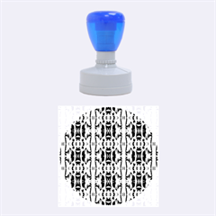 Blue White Abstract Flower Pattern Rubber Round Stamps (medium) by Costasonlineshop